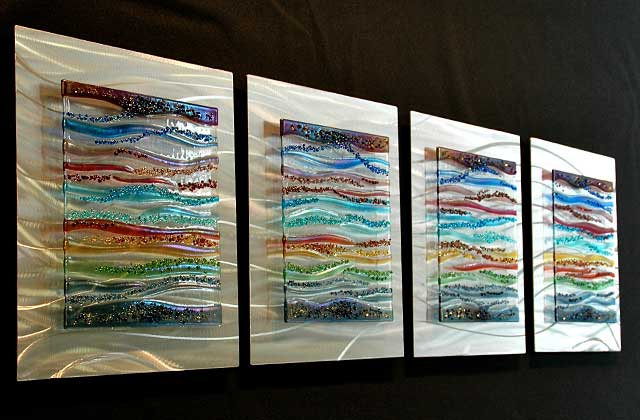 Wonderful 4 Piece Glass Wall Art Panels In Fused Glass And Brushed Aluminum