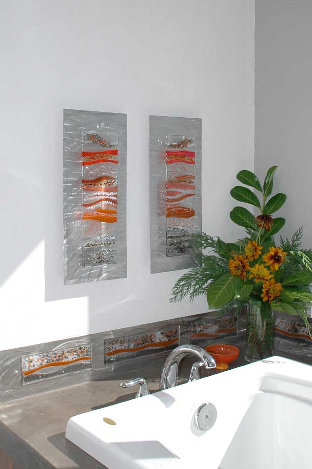 Contemporary glass wall art fused glass metal wall art for Glass wall art