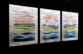 Sound Surrounds Fused Glass and Metal Wall Art Triptych