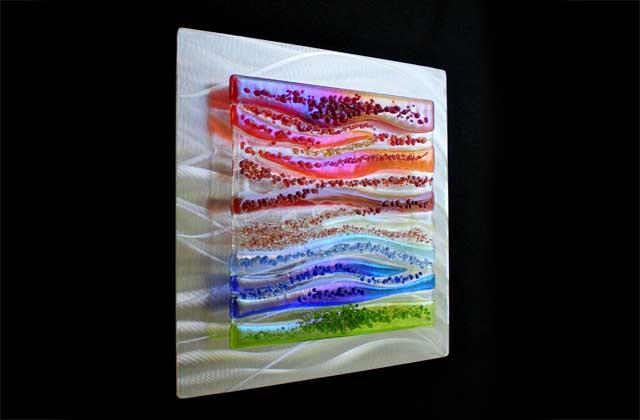 Fused Glass Metal Wall Art, Fused Glass Artwork Wall