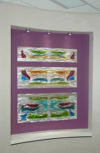 Custom Fused Glass and Metal Tryptych