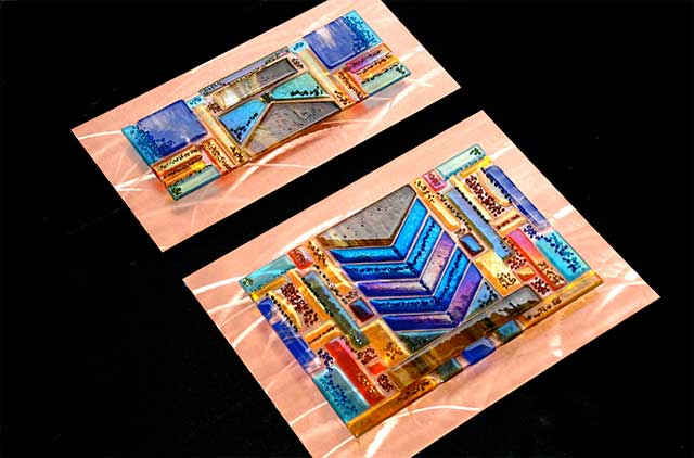2 of 6 Piece Glass Wall Art Panels in Fused Glass and Brushed Copper