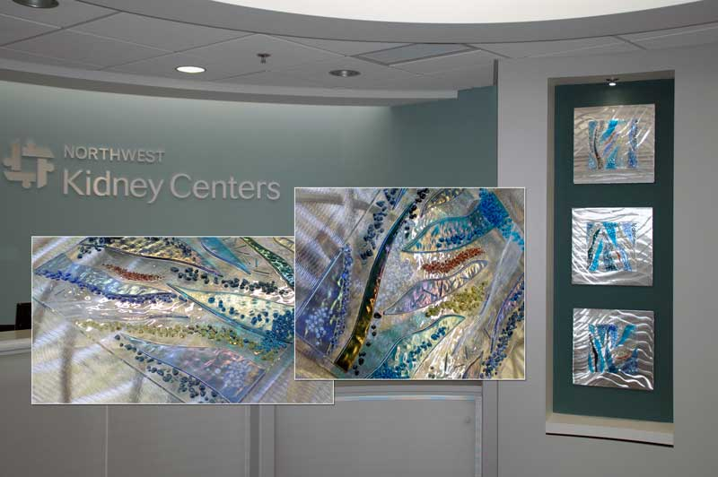 Good Northwest Kidney Centers Fused Glass Wall Art Panels Installed