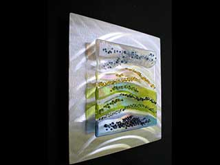 Rolling Hills - 12 x 12 Fused Glass and Brushed Aluminum