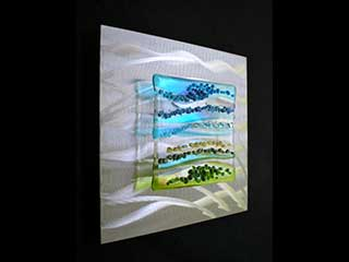 Bright Sky - 9 x 9 Fused Glass and Brushed Aluminum